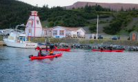 A group of kayakers on a kayak tour in Gros Morne National Park paddle past a lighthouse with the tablelands in the background